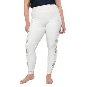Roses-white-blue-green-gold-elegant-women-plus-size-leggings