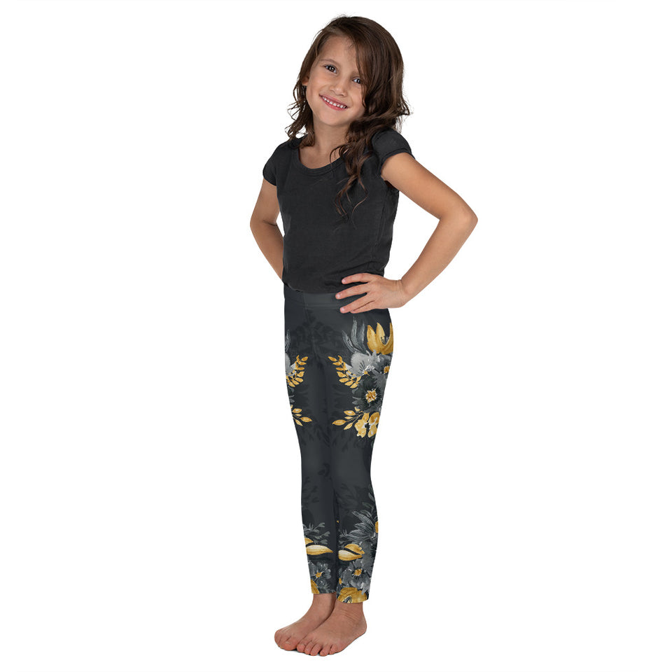 Flowers-black-grey-yellow-gold-kids-leggings-flora