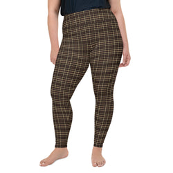 Tartan-brown-yellow-elegant-classic-leggings-women-plus-size