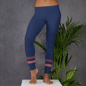 dark-blue-pink-sporty-stripes-elegant-women-leggings
