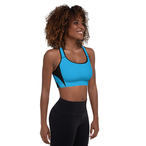 Blue Cyberpunk Padded Sports Bra for Yoga, Workouts, Running
