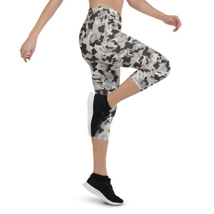 Gray Camo Urban Capri Leggings