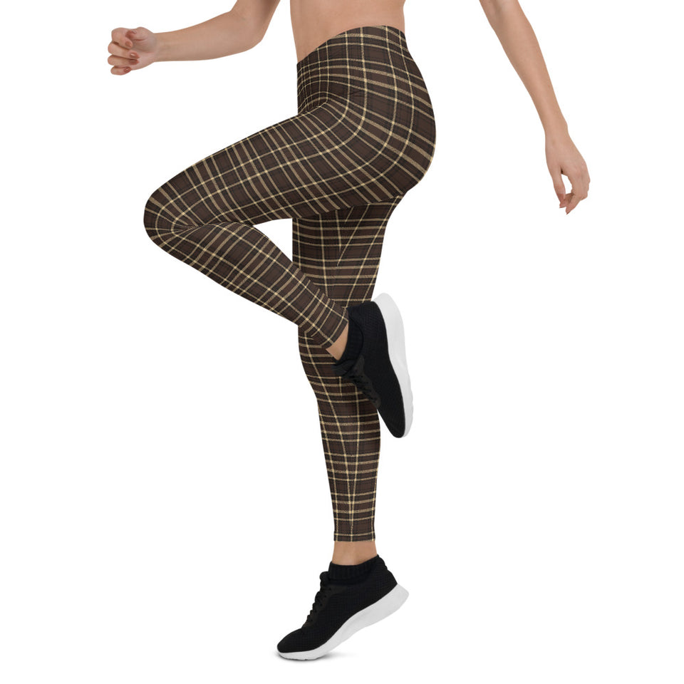 Tartan-brown-yellow-elegant-classic-leggings-1