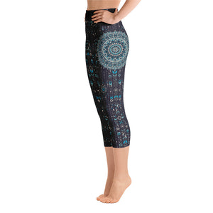 aztec-mandala-geometric-navy-blue-jade-green-yoga-capri-leggings