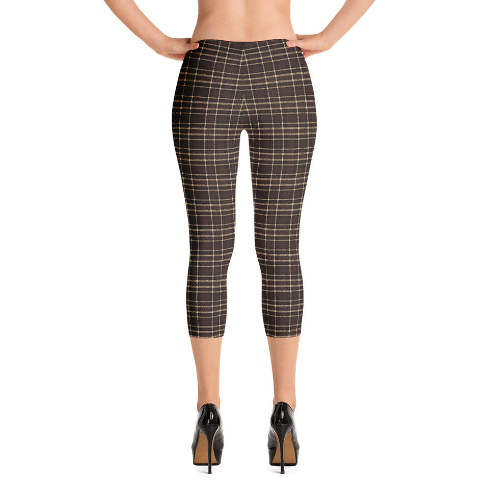 Tartan-brown-yellow-elegant-classic-capri-leggings-women-versatile