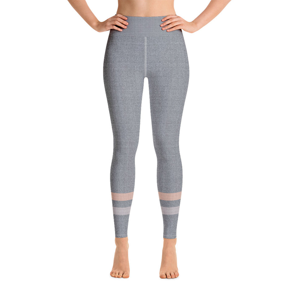 Gray-Cream-sporty-stripes-elegant-women-yoga-leggings-chic