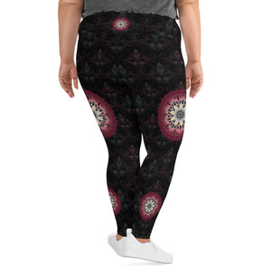 night-devi-black-and-redish-pink-mandala-chic-super-curvy-leggings