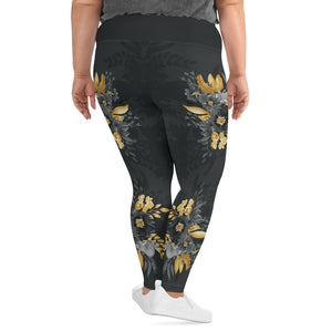 Flowers-black-grey-yellow-gold-women-plus-size-leggings-1