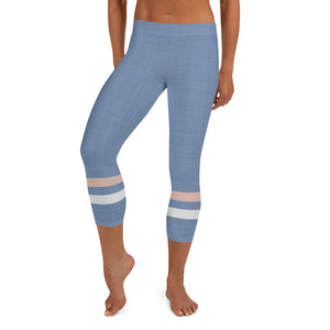 light-blue-cream-ivory-sporty-stripes-elegant-women-capri-leggings
