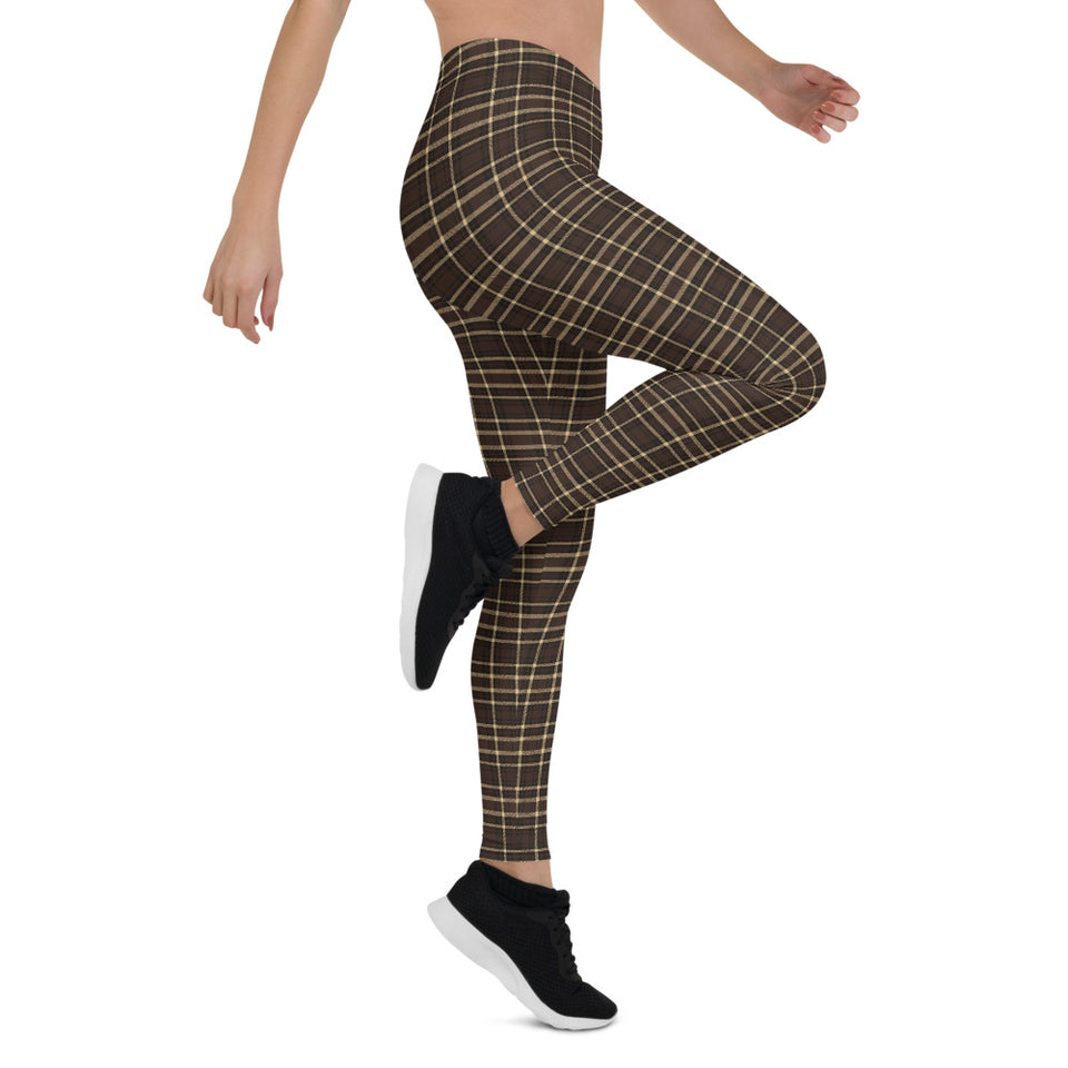 Tartan-brown-yellow-elegant-classic-leggings-3