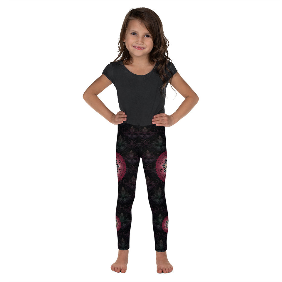 black red mandala kids girls leggings 2