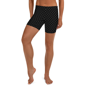 polka-dots-black-and-charcoal-gray-urban-shorts-women