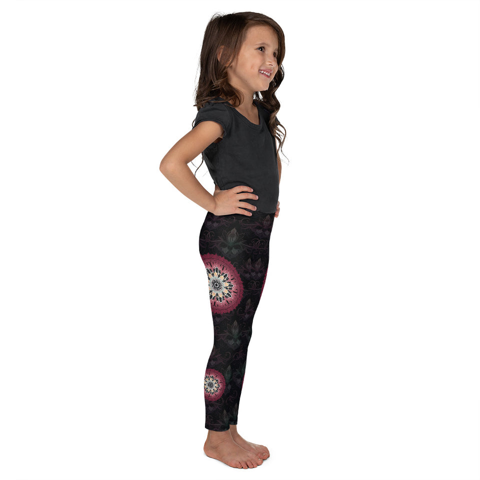 black red mandala kids girls leggings 4