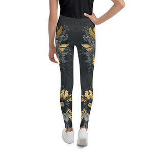 Flowers-black-grey-yellow-gold-youth-leggings-flora