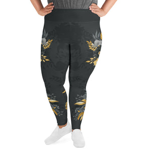 Flowers-black-grey-yellow-gold-women-plus-size-leggings-curvy