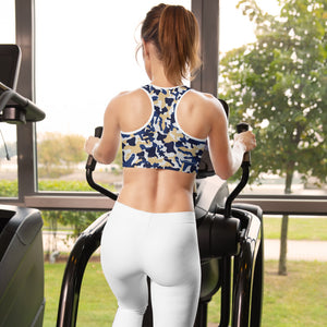 Contrast Camo Padded Sports Bra