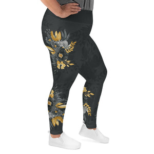 Flowers-black-grey-yellow-gold-women-plus-size-leggings