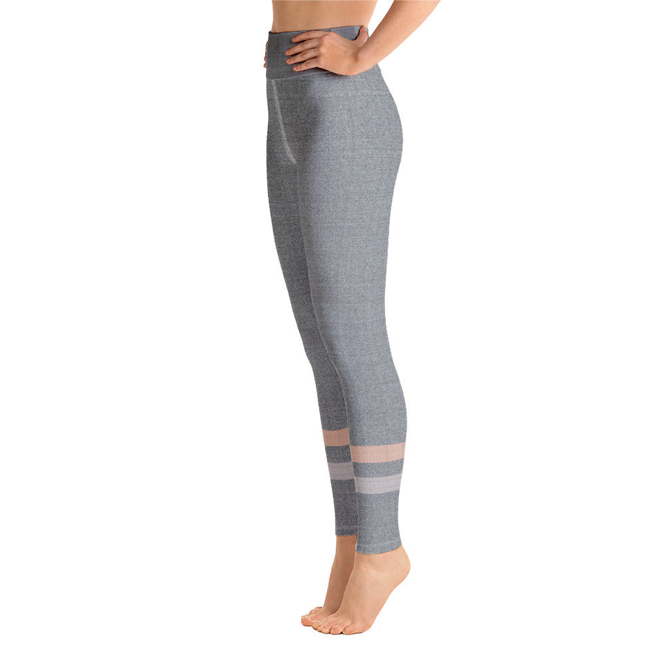Gray-Cream-sporty-stripes-elegant-women-yoga-leggings-1
