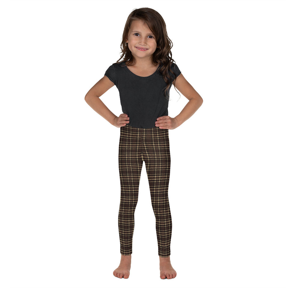 Tartan-brown-yellow-elegant-classic-leggings-kids-shop-chic