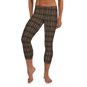 Tartan-brown-yellow-elegant-classic-capri-leggings-women-shop