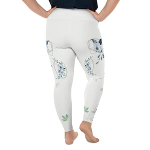 Roses-white-blue-green-gold-elegant-women-plus-size-leggings-carolina