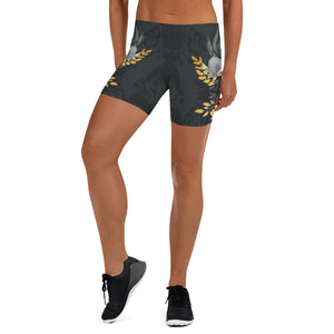Flowers-black-grey-yellow-gold-women-urban-shorts-chic