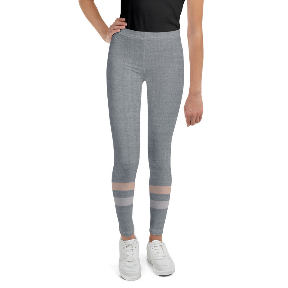 Gray-Cream-sporty-stripes-elegant-youth-leggings