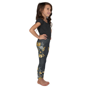 Flowers-black-grey-yellow-gold-kids-leggings-girls