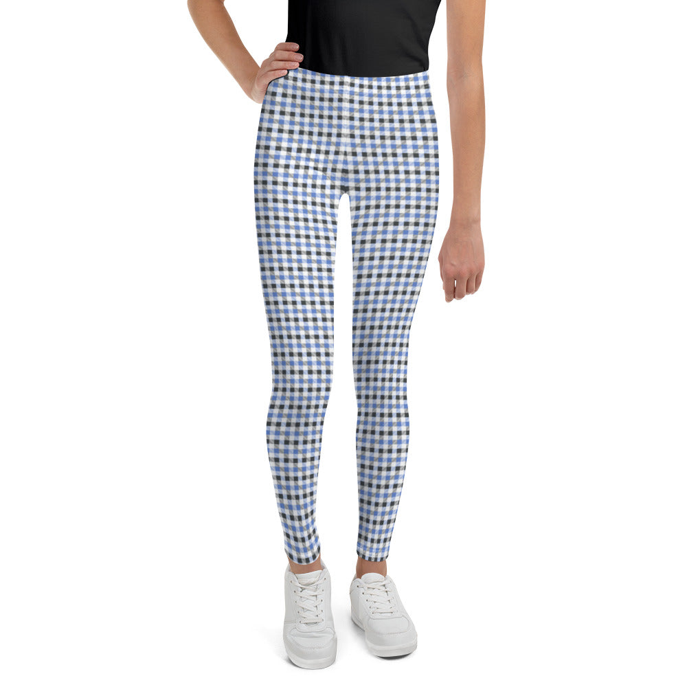 gingham-blue-grey-white-elegant-classic-women-youth-leggings-teens