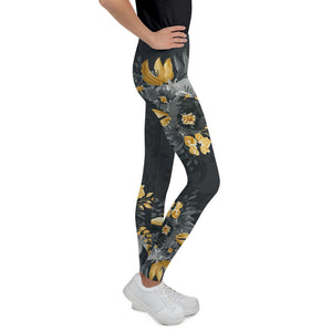 Flowers-black-grey-yellow-gold-youth-leggings-teens
