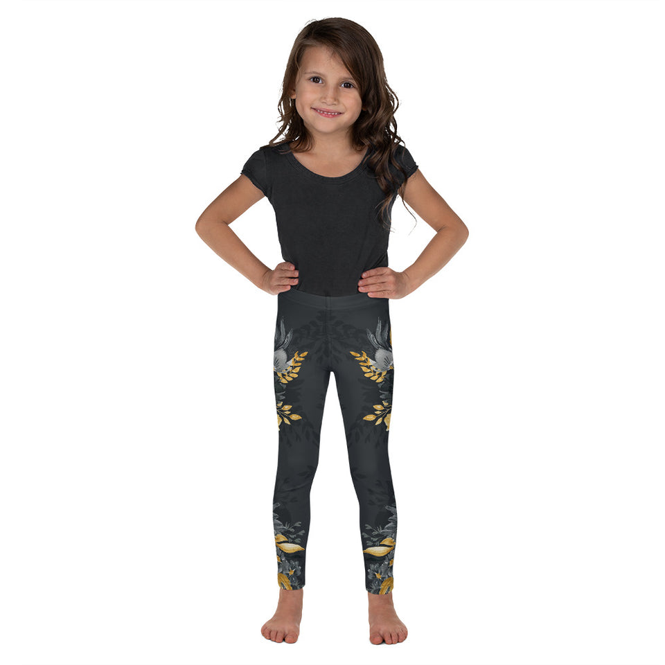 Flowers-black-grey-yellow-gold-kids-leggings-shop