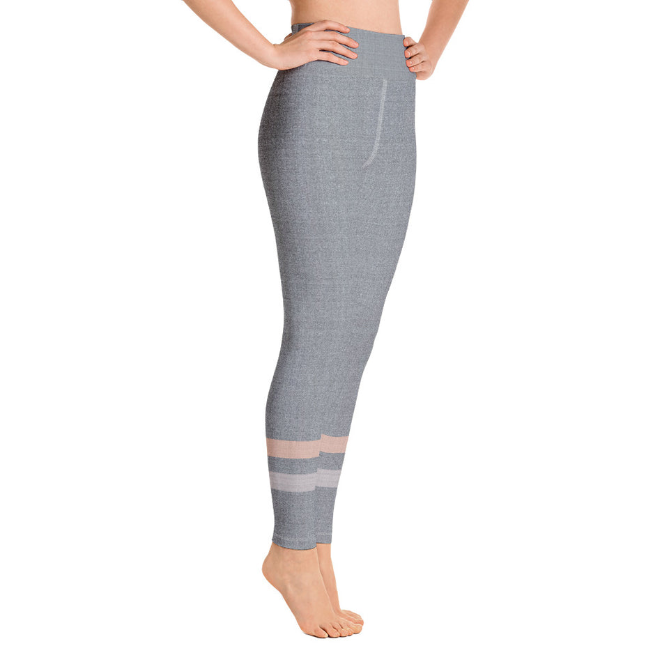 Gray-Cream-sporty-stripes-elegant-women-yoga-leggings-2