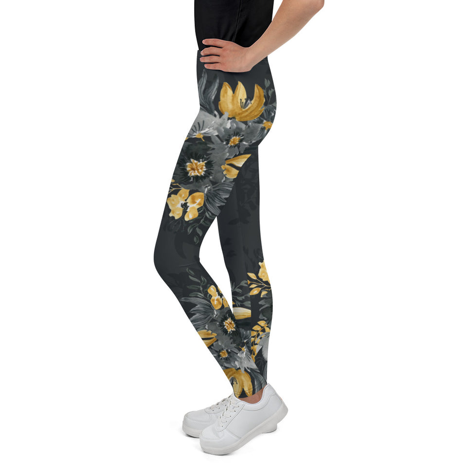Flowers-black-grey-yellow-gold-youth-leggings-shop