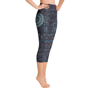 aztec-mandala-navy-blue-jade-green-yoga-capri-leggings