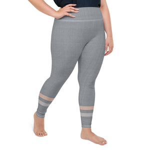 Gray-Cream-sporty-stripes-elegant-women-plus-size-leggings