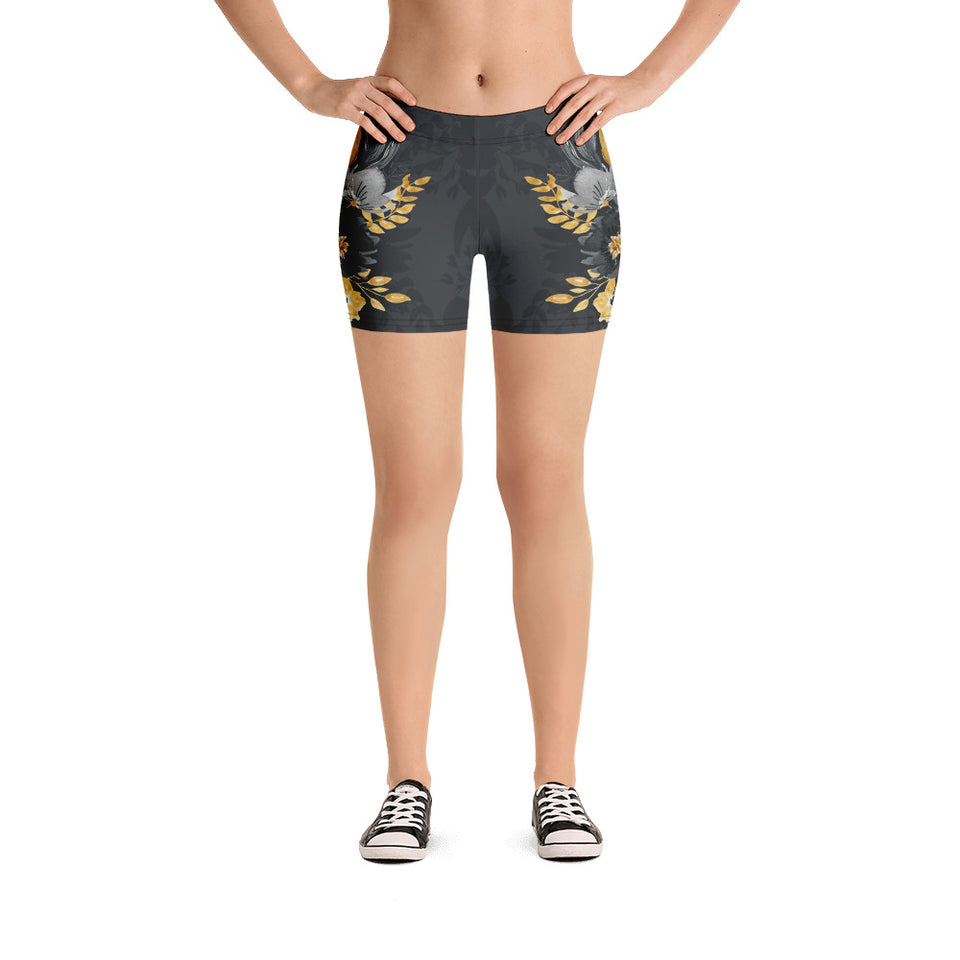 Flowers-black-grey-yellow-gold-women-urban-shorts-elegant