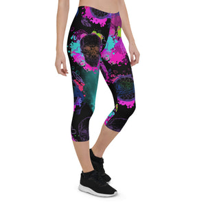 Halloween Acid Skulls Urban Capri Leggings