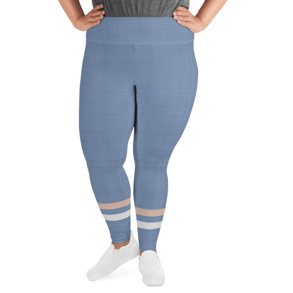 light-blue-cream-ivory-sporty-stripes-women-plus-size-leggings