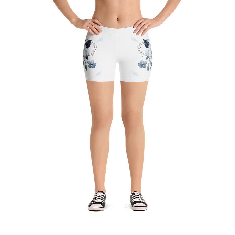 Roses-white-blue-green-gold-elegant-women-urban-shorts-usa