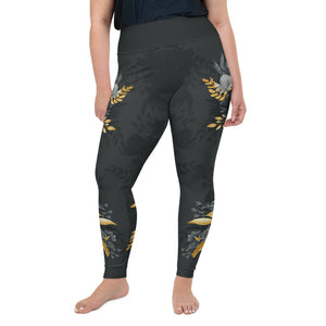 Flowers-black-grey-yellow-gold-women-plus-size-leggings-flora