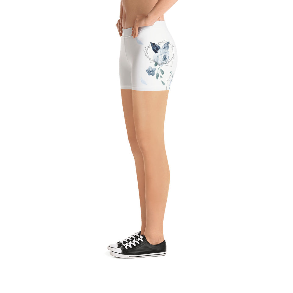 Roses-white-blue-green-gold-elegant-women-urban-shorts-shop-usa