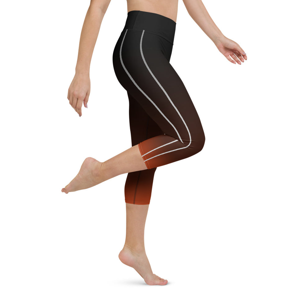 Sporty Stripes II Rusty Yoga Capri Leggings