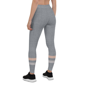 Gray-Cream-sporty-stripes-elegant-women-urban-leggings-2