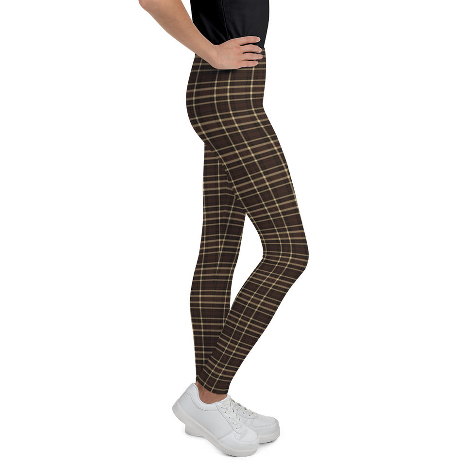 Tartan-brown-yellow-elegant-classic-leggings-youth