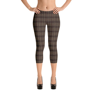 Tartan-brown-yellow-elegant-classic-capri-leggings-women-chic