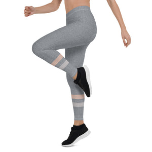 Gray-Cream-sporty-stripes-elegant-women-urban-leggings-1