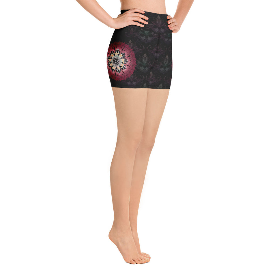 black-and-redish-pink-mandala-chic-yoga-shorts-women