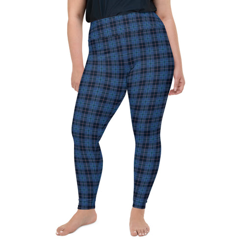 navy-blue-pink-tartan-classic-elegant-beautiful-plus-size-leggings-women