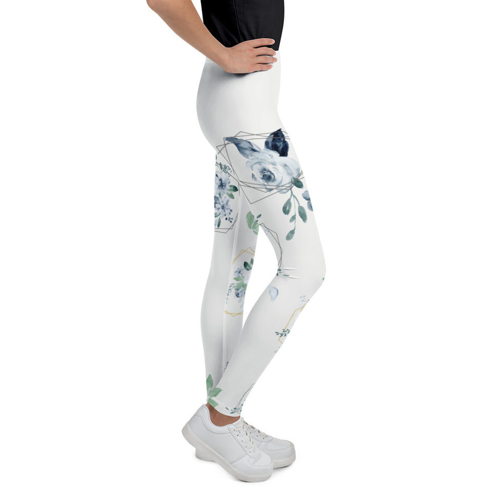 Roses-white-blue-green-gold-elegant-youth-leggings-teens
