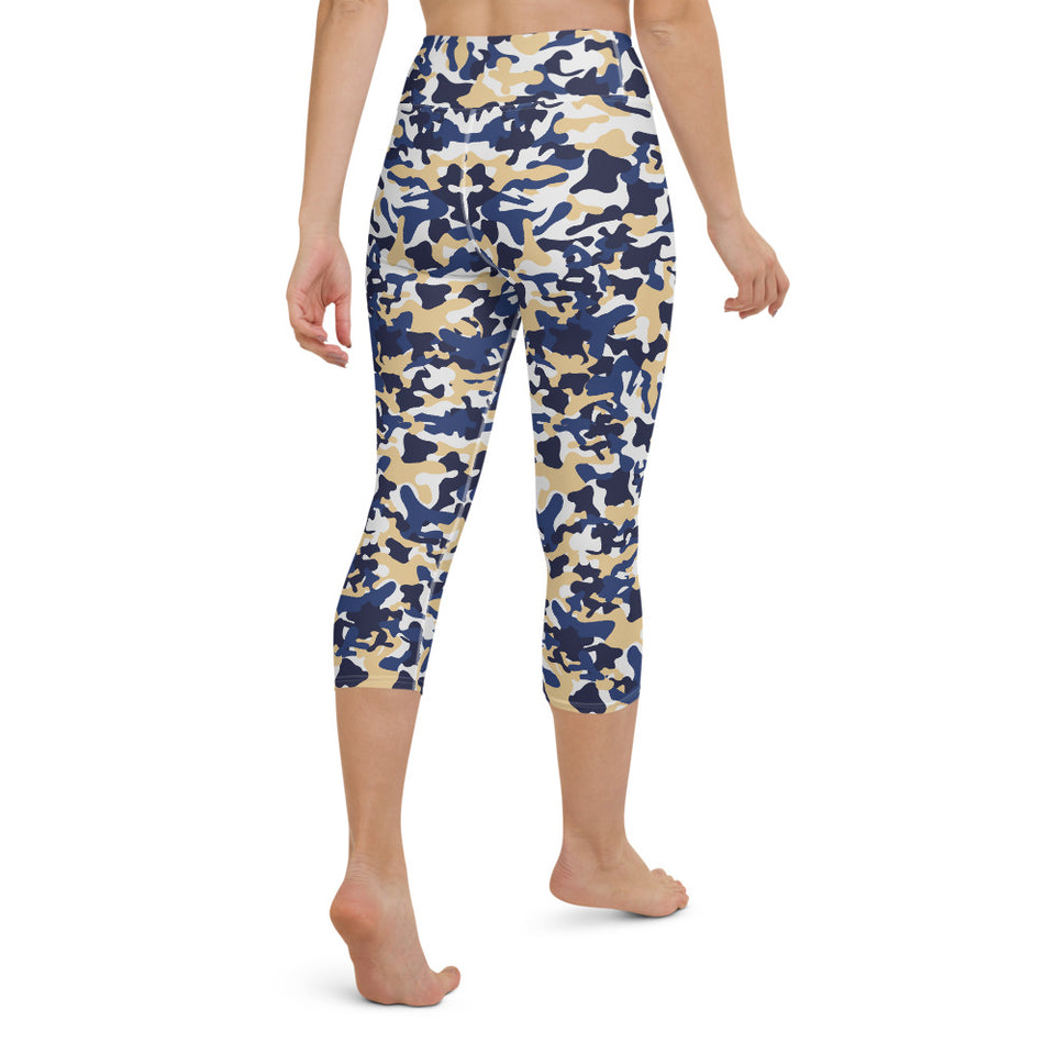 Contrast Camo Yoga Capri Leggings